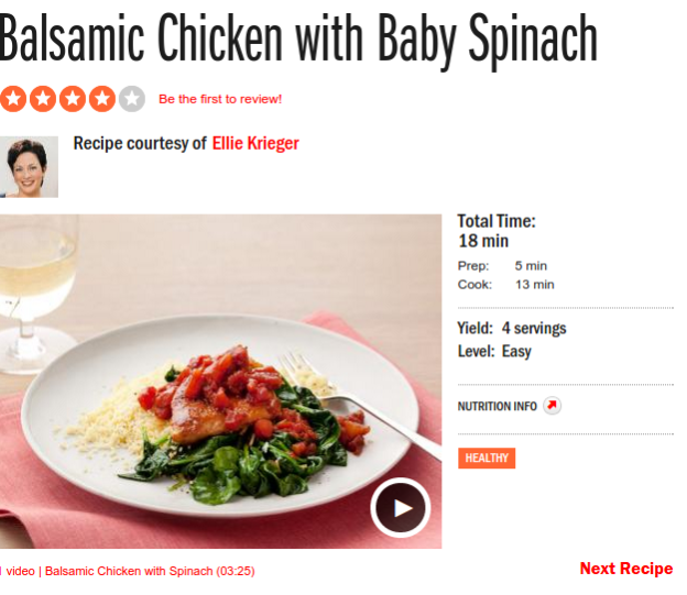 ' Balsamic Chicken with Baby Spinach '